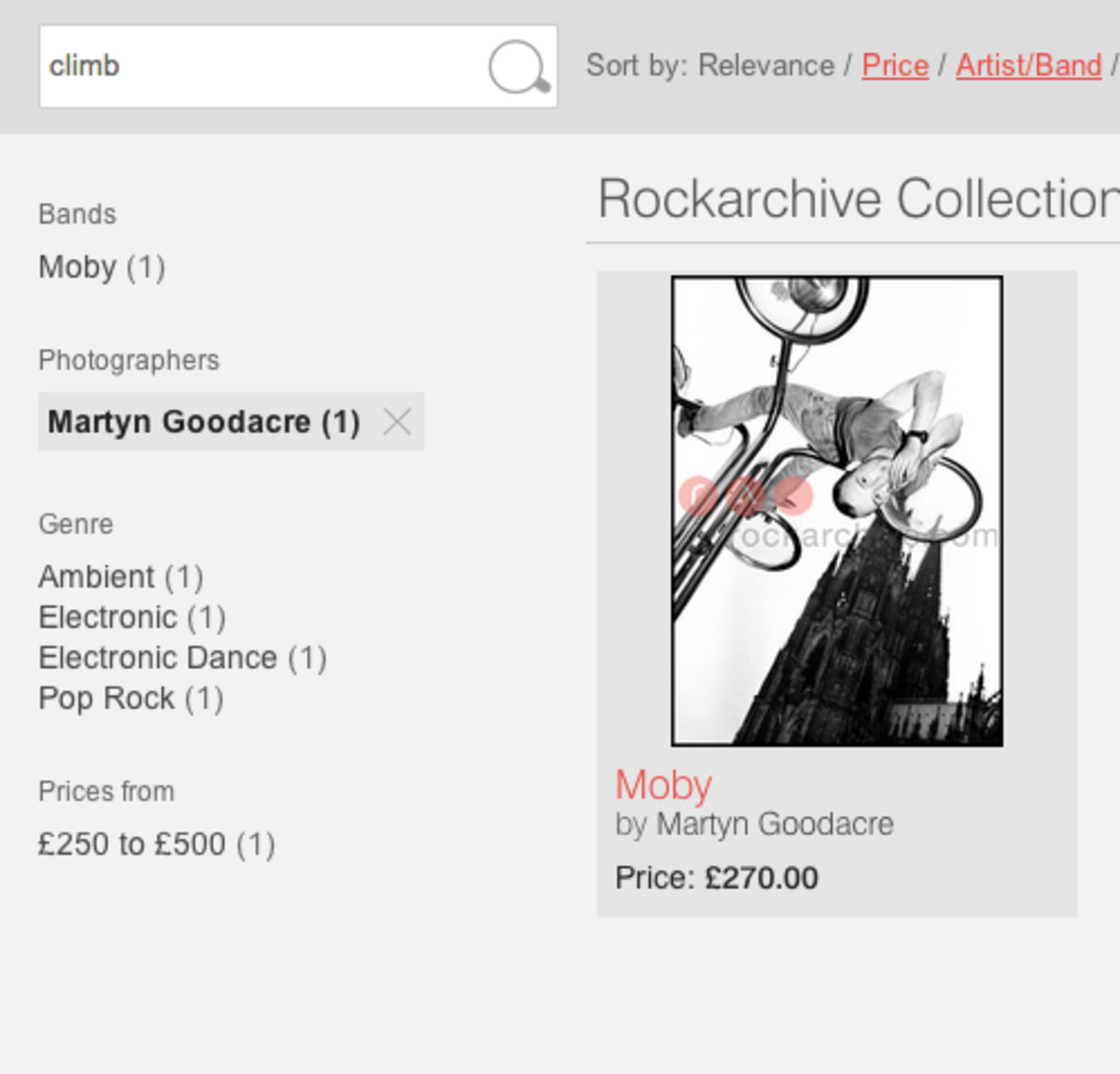 Rock archive search