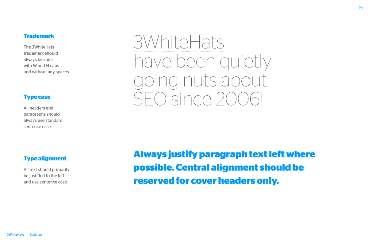 3 White Hats Brand Guidelines document spread about trademarks