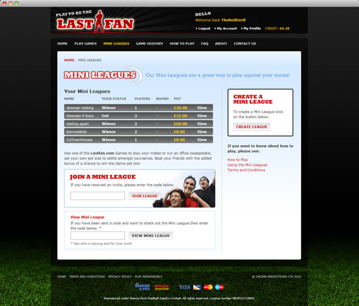 LastFan.com website Mini Leagues page