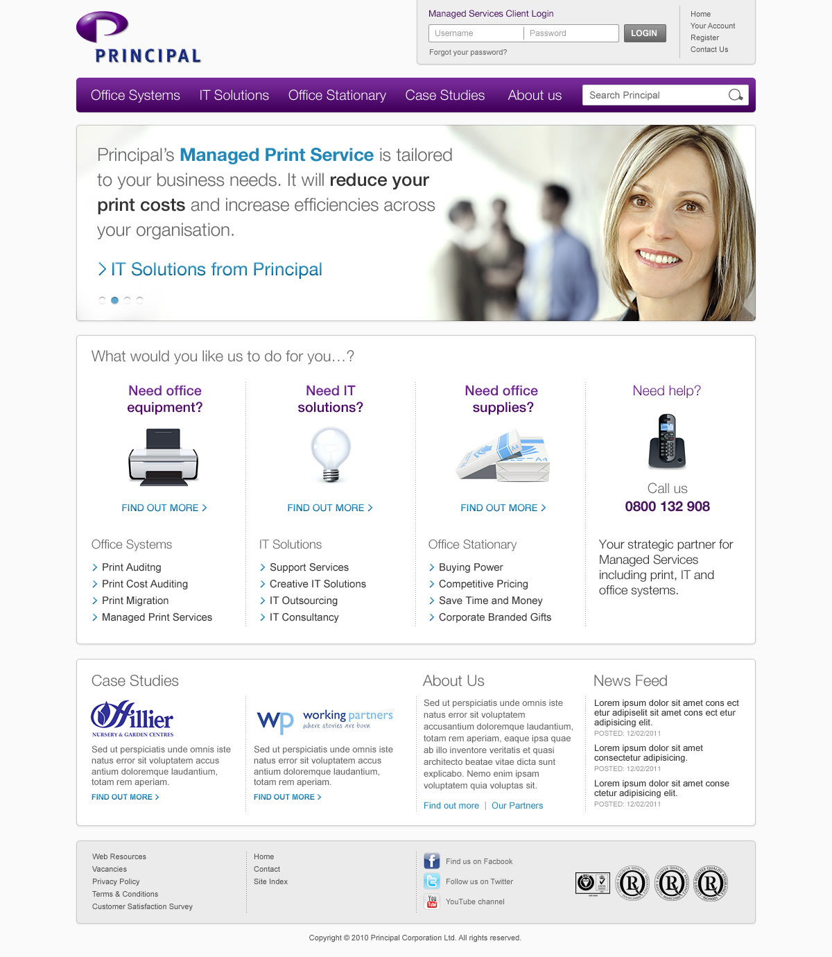 Principal solutions website homepage screen grab
