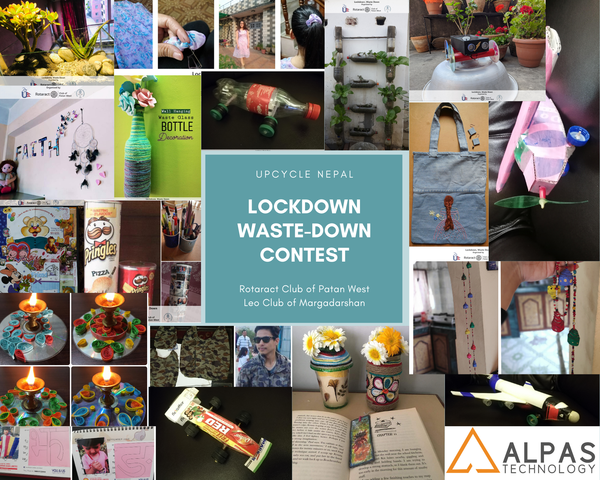 Pictures of DIY sent by all the participants in Lockdown waste down competition organized by Upcycle Nepal, and Promotional Partner Alpas Technology
