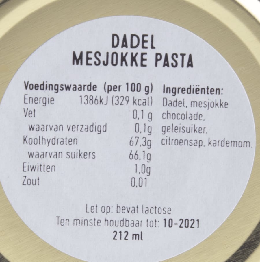 verpakking Twisted x Mesjokke dadel- chocolade pasta