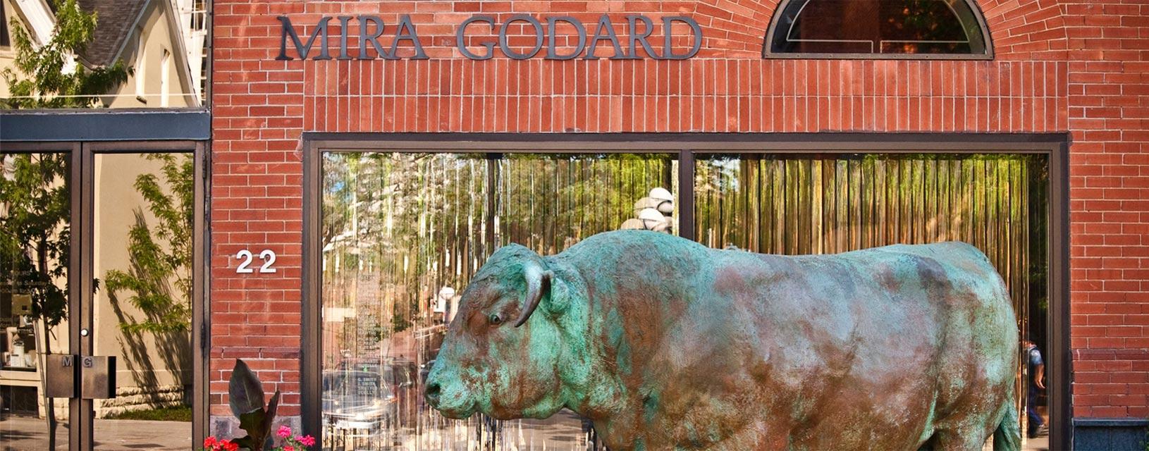 statue outside mira godard gallery