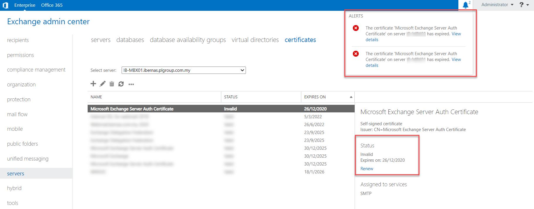 Renew Expired Microsoft Exchange Server Auth Certificate
