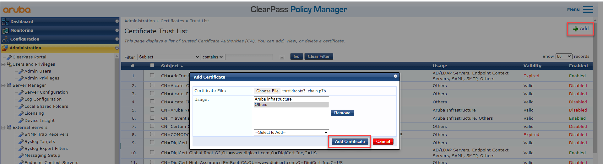 Replace ClearPass Default Self Sign SSL Certificate