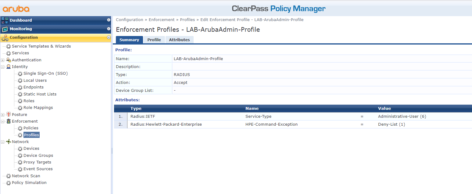 Authenticate Aruba Devices Against ClearPass