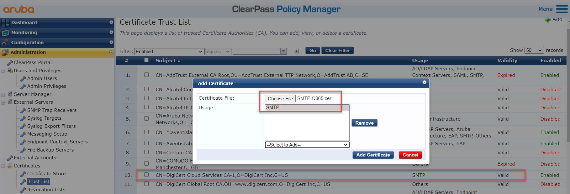 Configure SMTP Server In Aruba ClearPass