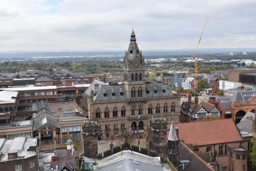 The view from the top of Chester Cathedral