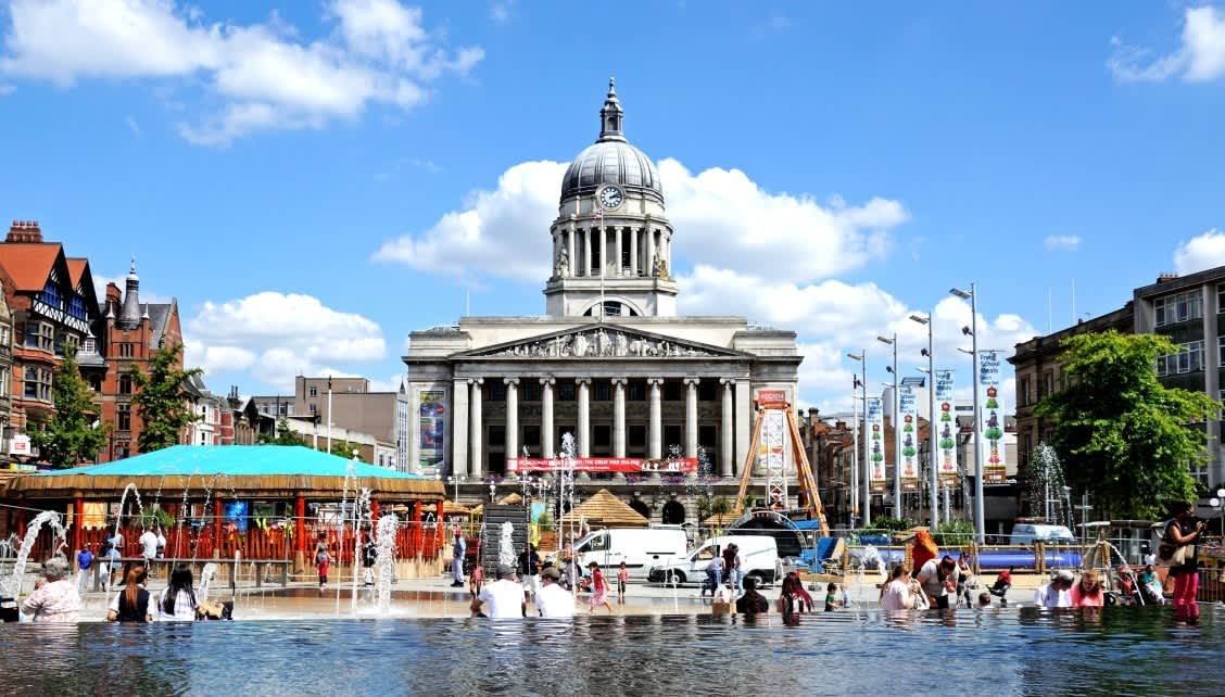 Old Market Square in Nottingham during the summer.
