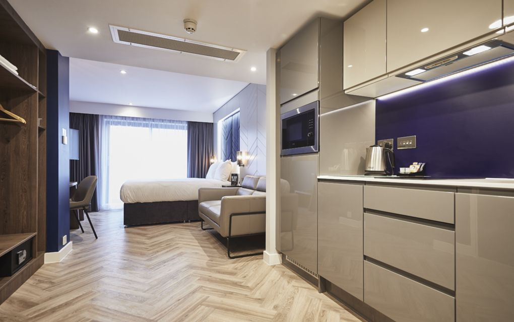 Smart Studio Student Apartment in York. Sofa and fully Equipped Kitchen. IconInc @ Roomzzz