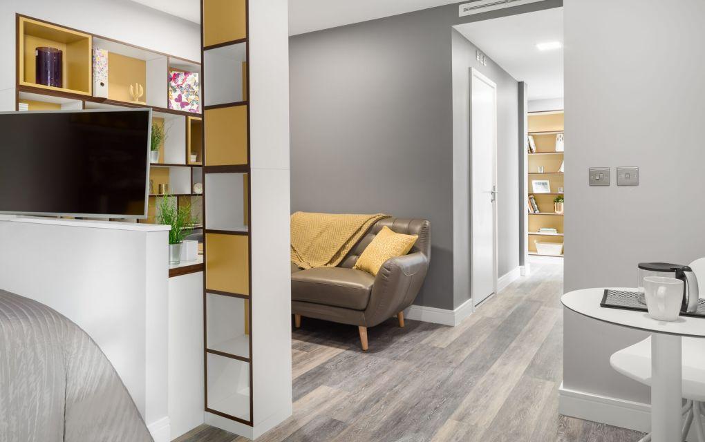 Grande Studio Studio Apartment in Liverpool. TV and lounge area. IconInc, The Ascent