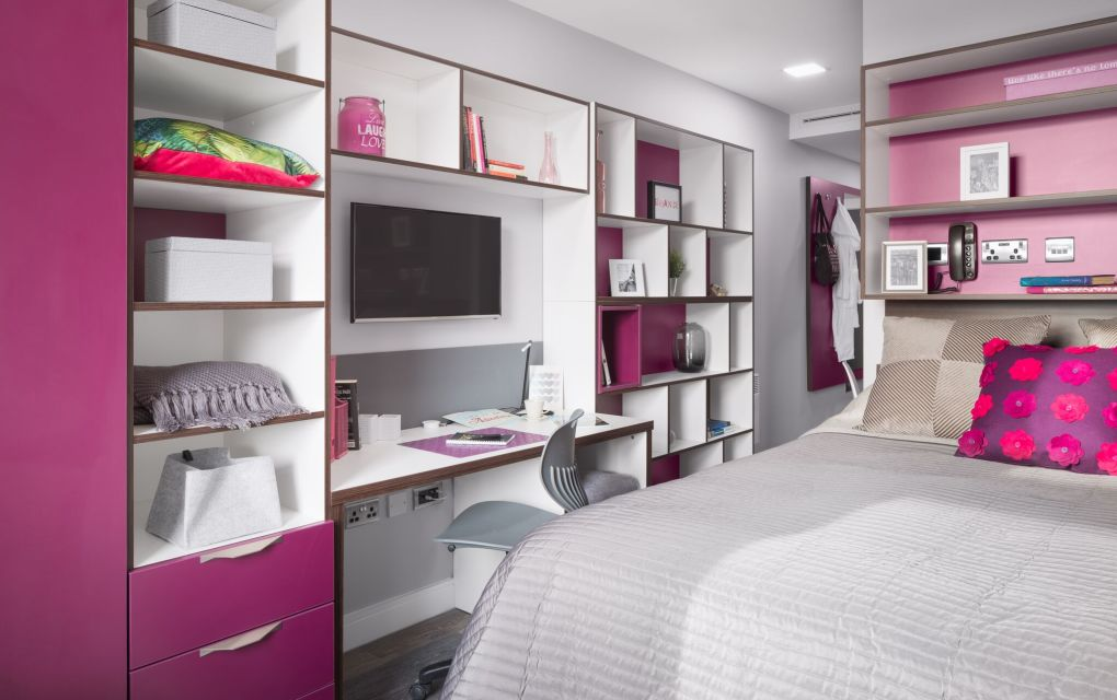 Elegance Student Apartment in Liverpool with king size bed and desk. IconInc The Ascent