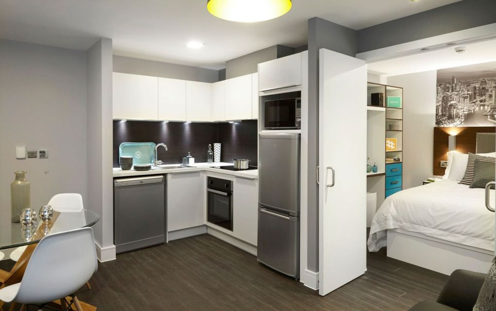 Grande Student Apartment with Separate kitchen and bedroom areas. IconInc, The Edge