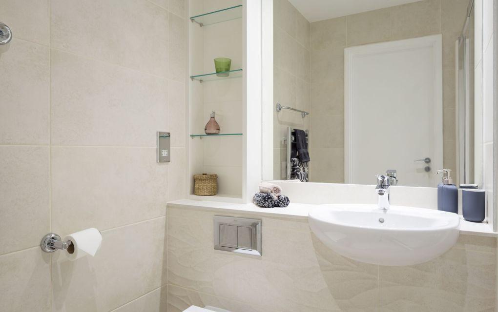 En-suite bathroom with sing, mirror and bathroom storage. IconInc, The Ascent