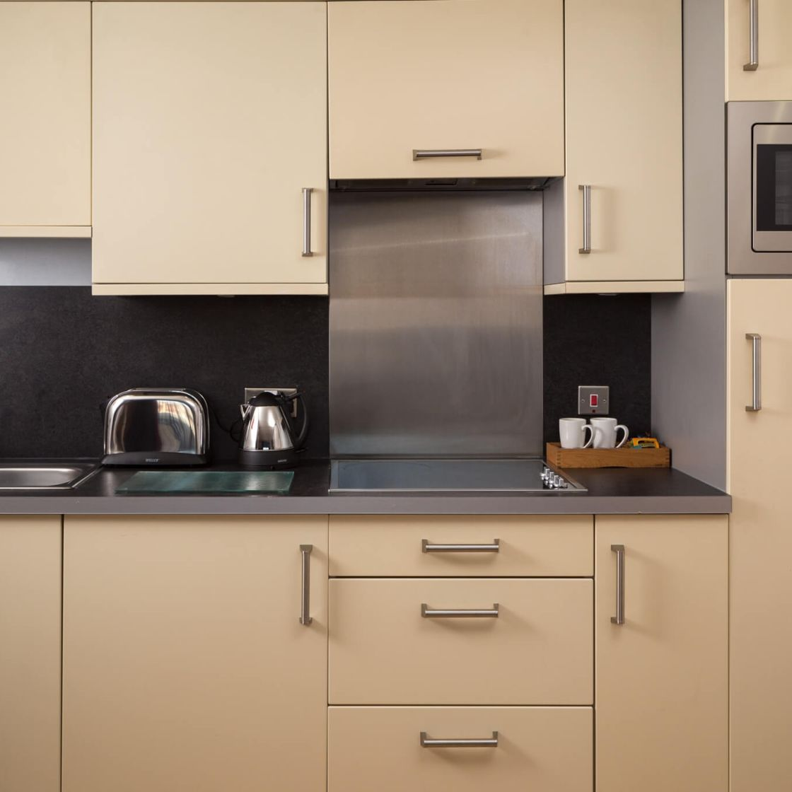 Smart Studio Student Apartment in Leeds. Kitchen with Kettle and toaster. IconInc @ Roomzzz Leeds City West
