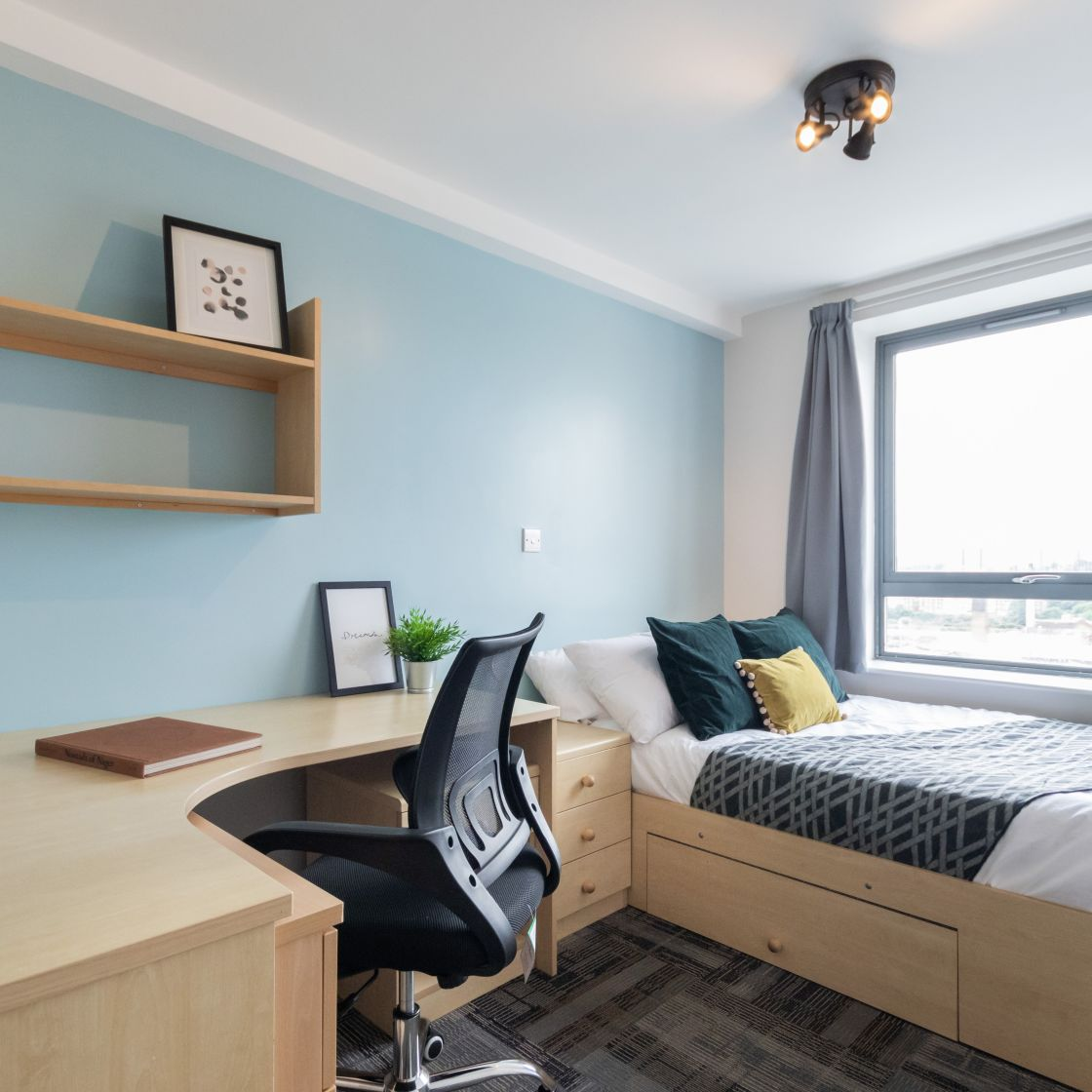 Standard Bedroom Student Apartment in Leeds with Double Bed and Desk. IconInc, Triangle