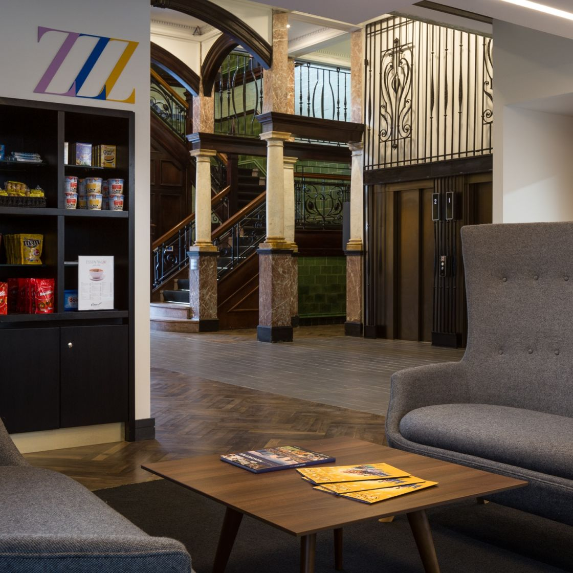Reception lounge at IconInc @ Roomzzz Manchester Corn Exchange