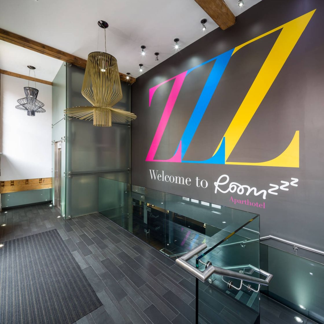 IconInc @ Roomzzz Manchester City Entrance with lift and stairs. Student Accommodation in Manchester