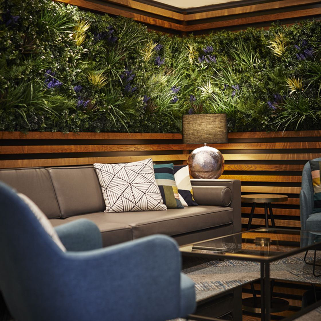 Reception Lounge with living wall. IconInc @ Roomzzz York. Student Accommodation in York