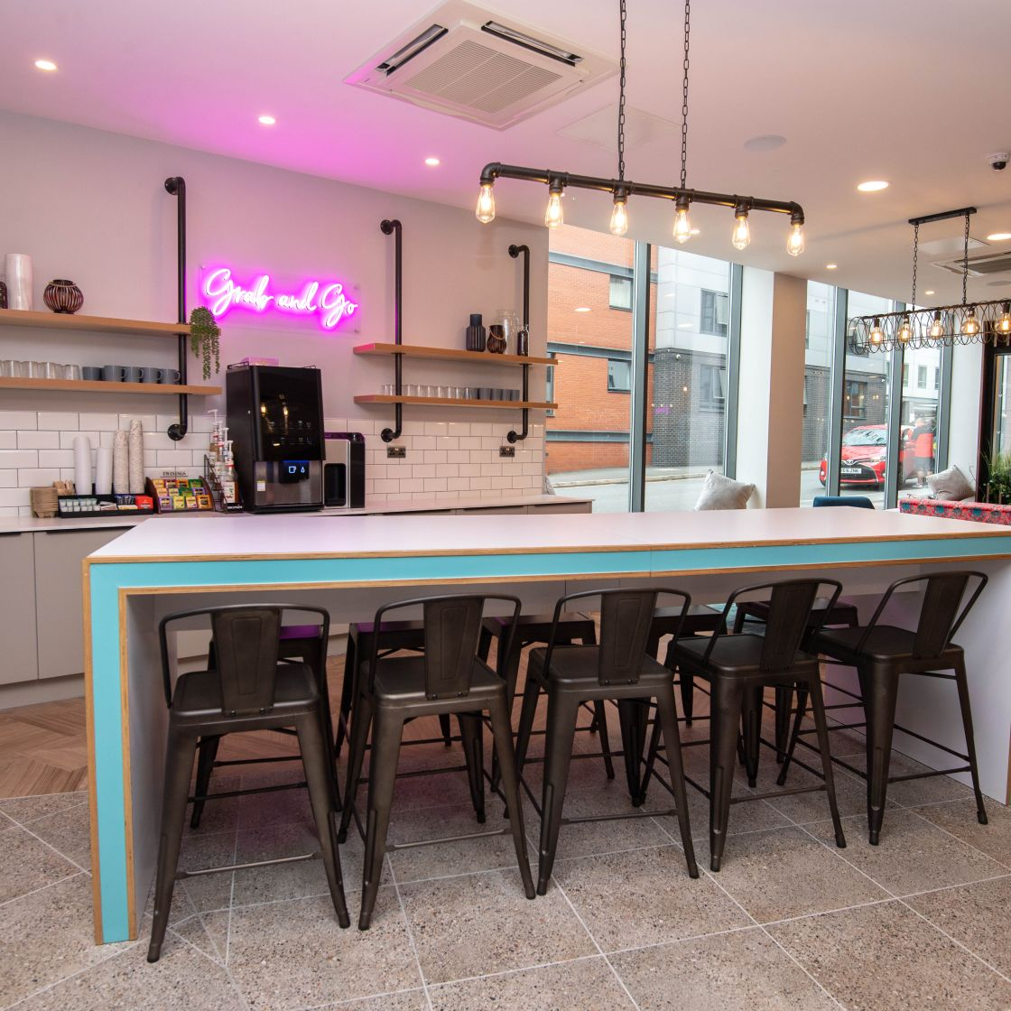 Grab & Go station with large breakfast bar at IconInc, The Edge. Student Accommodation in Leeds