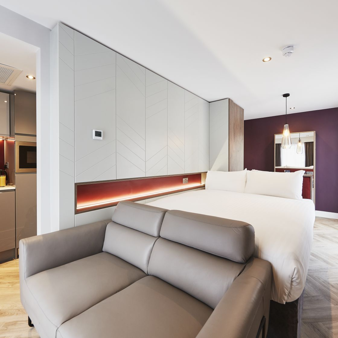 Neo Studio Student Apartment in Newcastle. King Size Bed, Sofa and Kitchen. IconInc @ Roomzzz