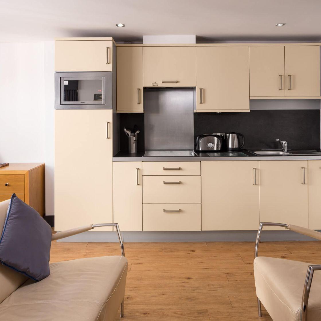 Smart Studio Student Apartment in Leeds. Kitchen and living area. IconInc @ Roomzzz Leeds City Wet