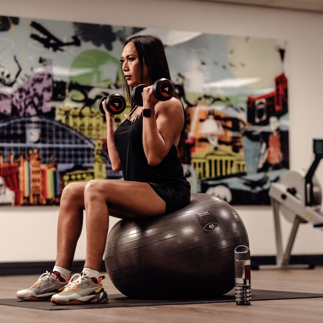 Woman on exercise ball with free weights. IconInc @ Roomzzz Gym.  Student Accommodation in York.
