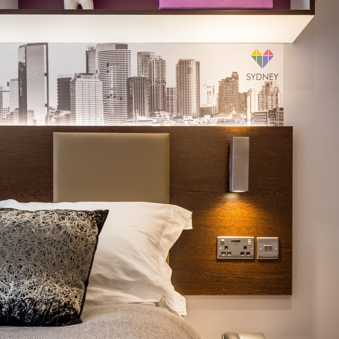 Smart Student Apartment in Leeds, King Size bed and power points. IconInc, The Glassworks