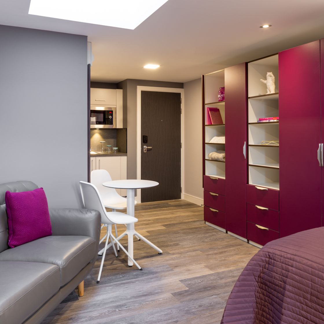 Smart Student Apartment in Leeds with Sofa and Kitchen. IconInc, The Glassworks