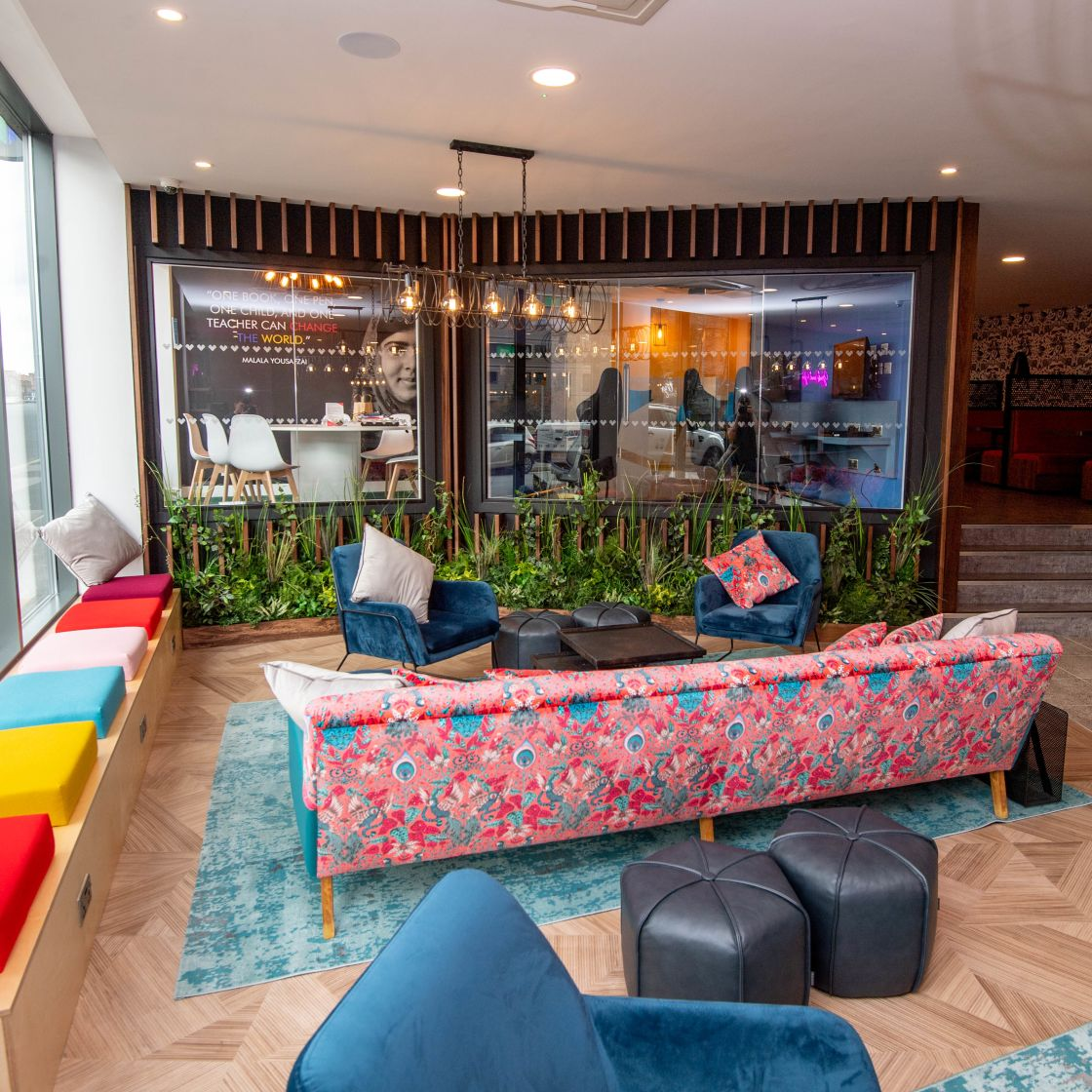 Reception lounge area at IconInc, Edge. Student Accommodation in Leeds