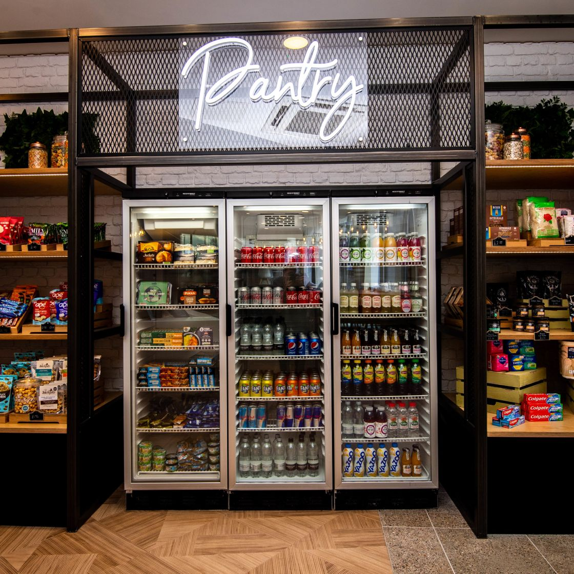 Pantry area with drinks fridge at IconInc, The Edge. Student Accommodation in Leeds