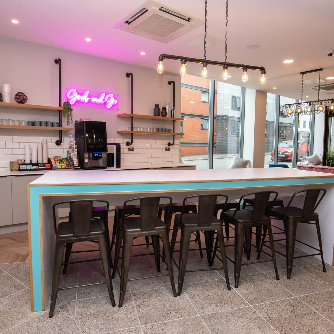 Grab and Go station with 24 hour coffee machine at IconInc, The Edge. Student Accommodation in Leeds