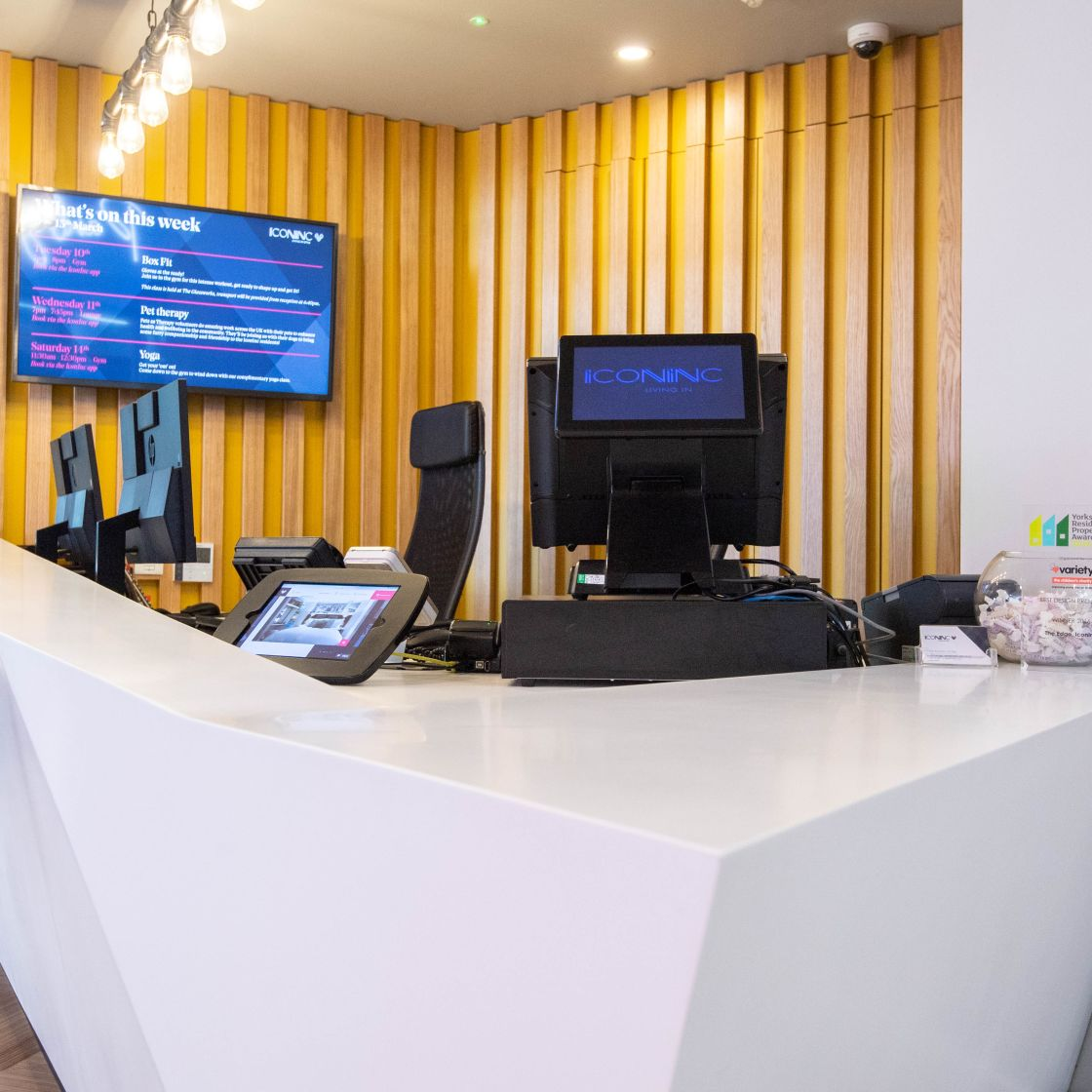 24 Hour Reception Desk at IconInc, The Edge. Student Accommodation in Leeds