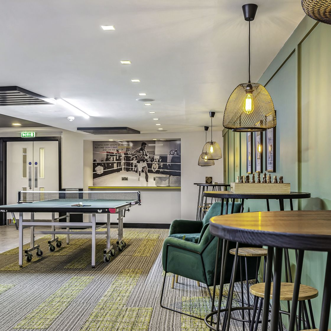 Games area with Chess and Table Tennis at IconInc, The Edge. Student Accommodation in Leeds