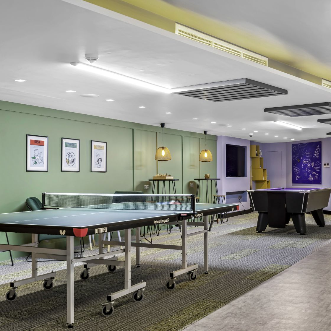 Games are with Table Tennis and Pool Table at IconInc, The Edge. Student Accommodation in Leeds