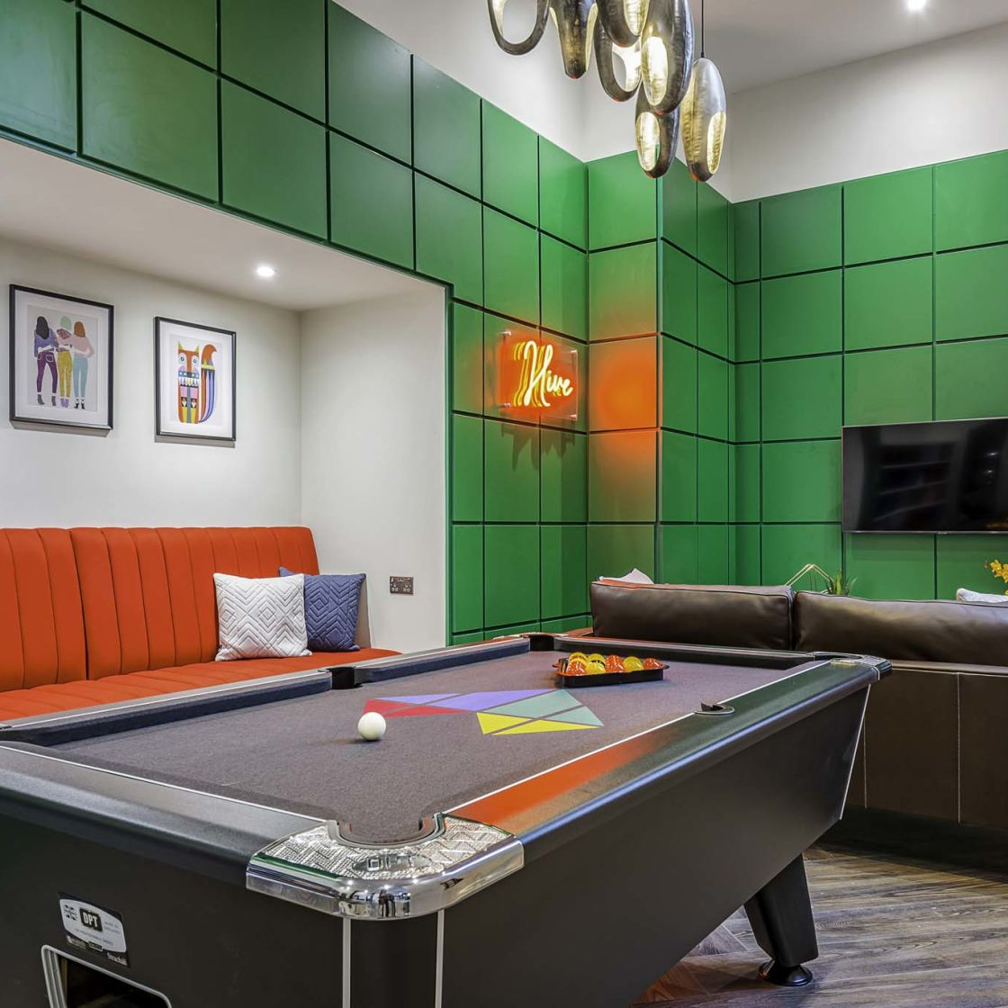 Games Room with pool table and neon lighting at IconInc Gravity, student accommodation in Lincoln