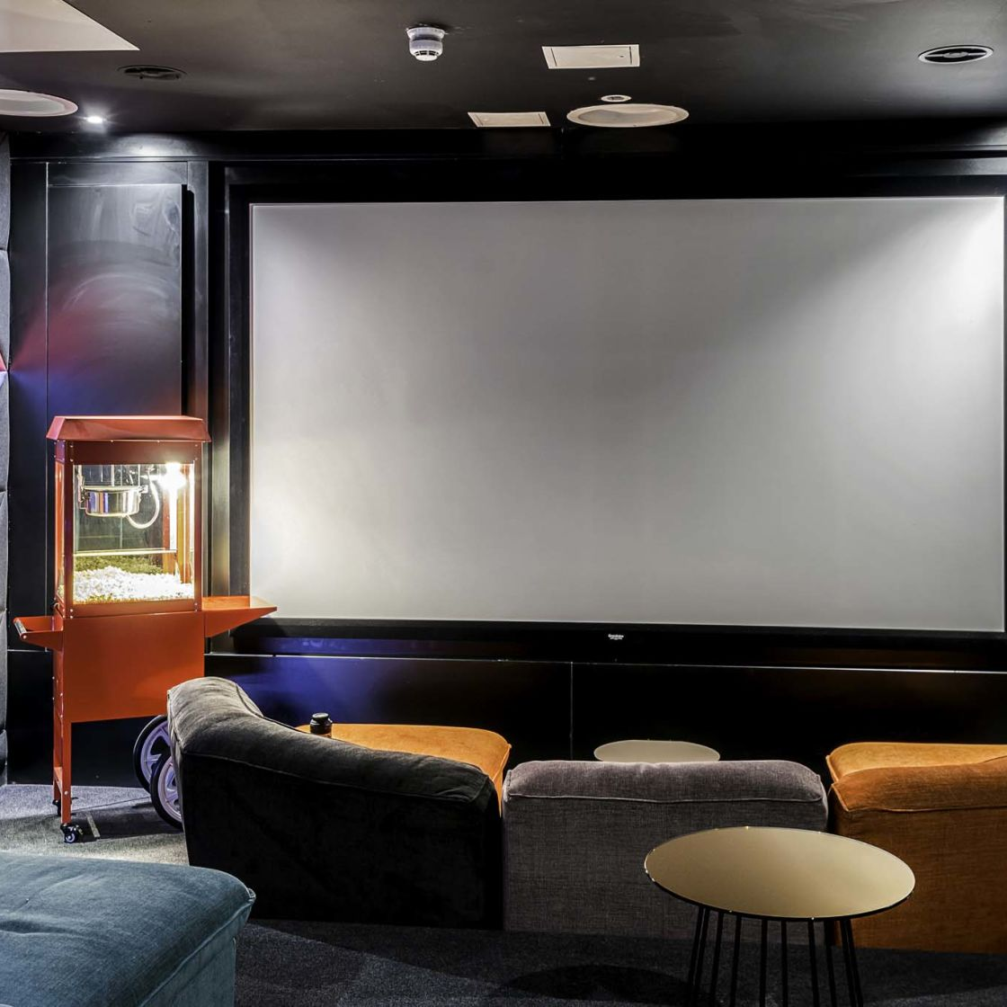 Cinema with popcorn machine at IconInc Gravity, student accommodation in Lincoln
