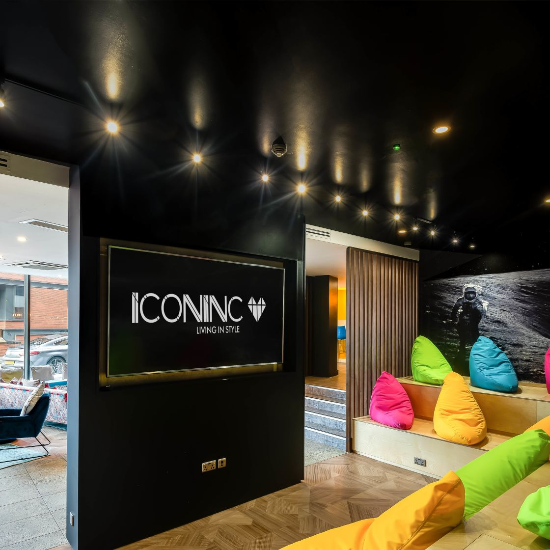 Ampitheatre with seating and flat screen TV at IconInc, The Edge. Student Accommodation in Leeds.