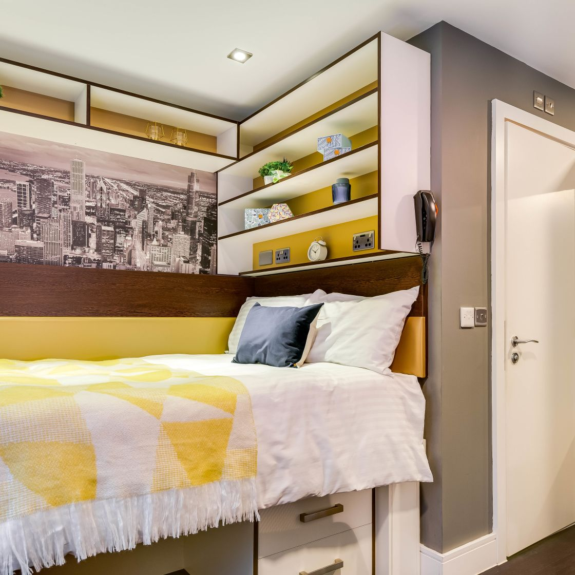 Smart Student Apartment in Leeds with raised bed, and shelf storage at IconInc, The Edge