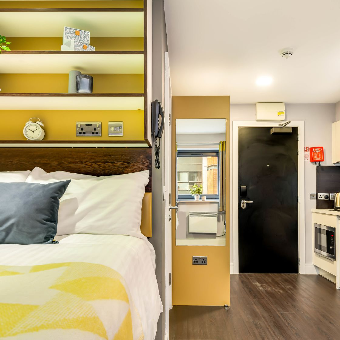 Smart Student Apartment in Leeds with raised bed, and kitchen at IconInc, The Edge