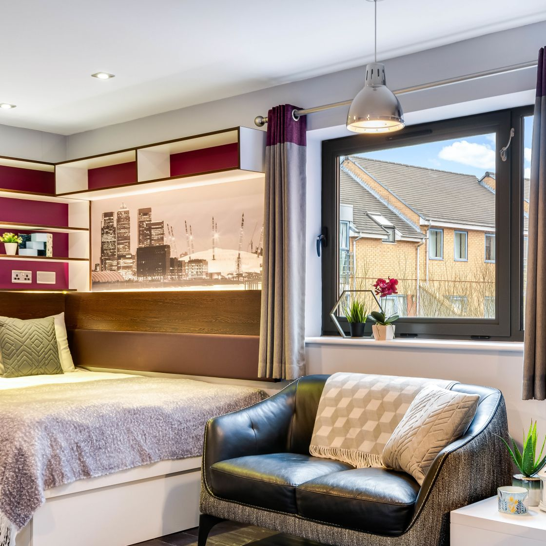 Elegance Student Apartment in Leeds with king size bed and sofa. IconInc, The Edge