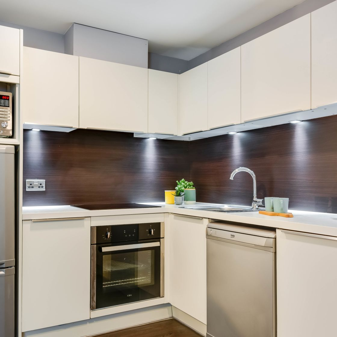 Grande Student Apartment in Leeds. Kitchen with Sink, Oven and Fridge Freezer. IconInc, The Edge,