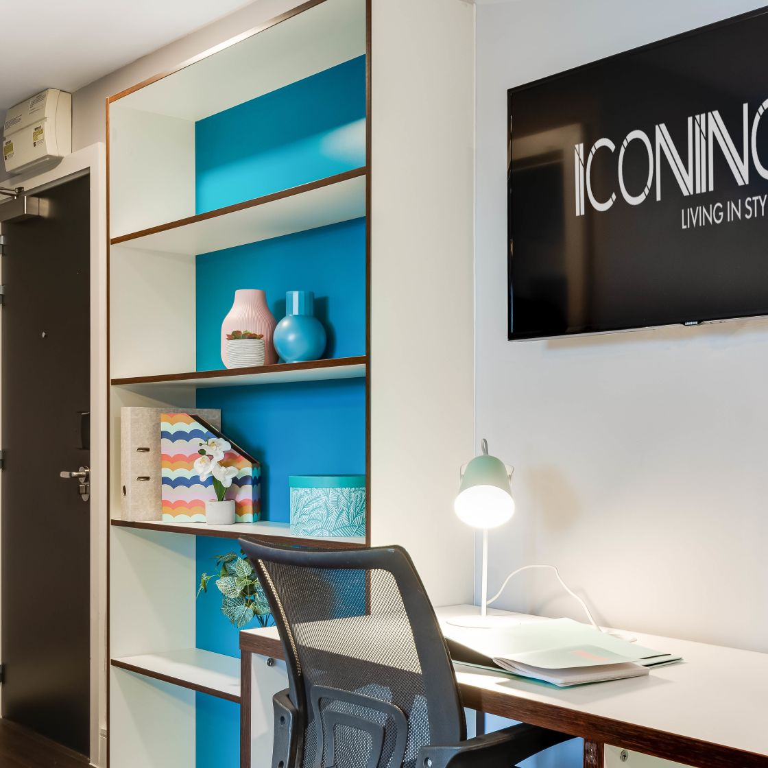 Grande student apartment in Leeds with desk and flat screen TV. IconInc, The Edge,