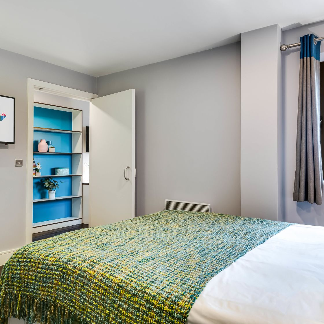 Grande Student Apartment in Leeds with King Size, and shelf storage. IconInc, The Edge