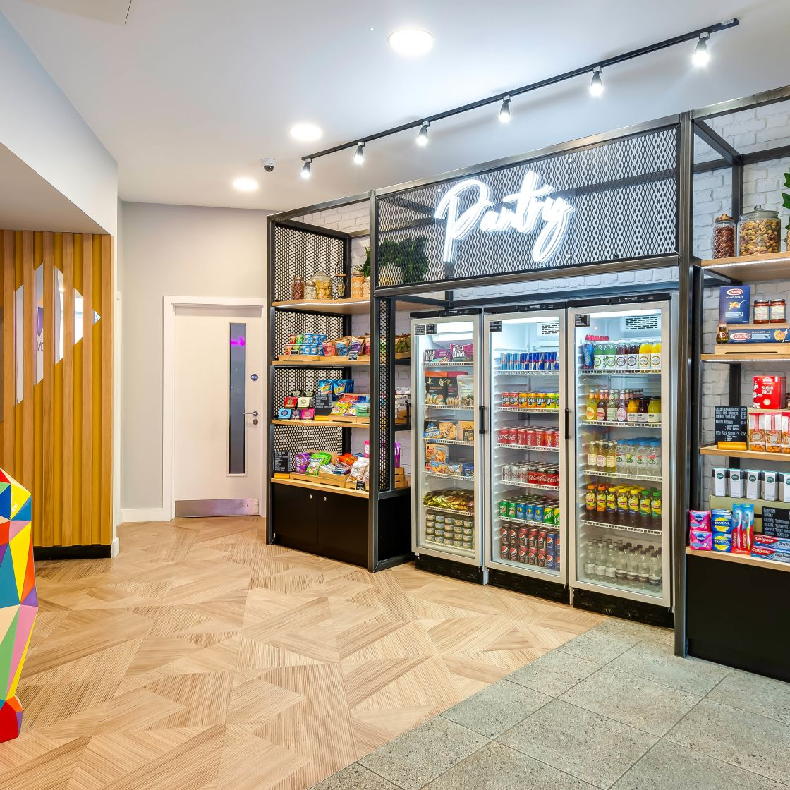 Reception and Pantry Area with drink fridge at IconInc, The Edge. Student Accommodation in Leeds