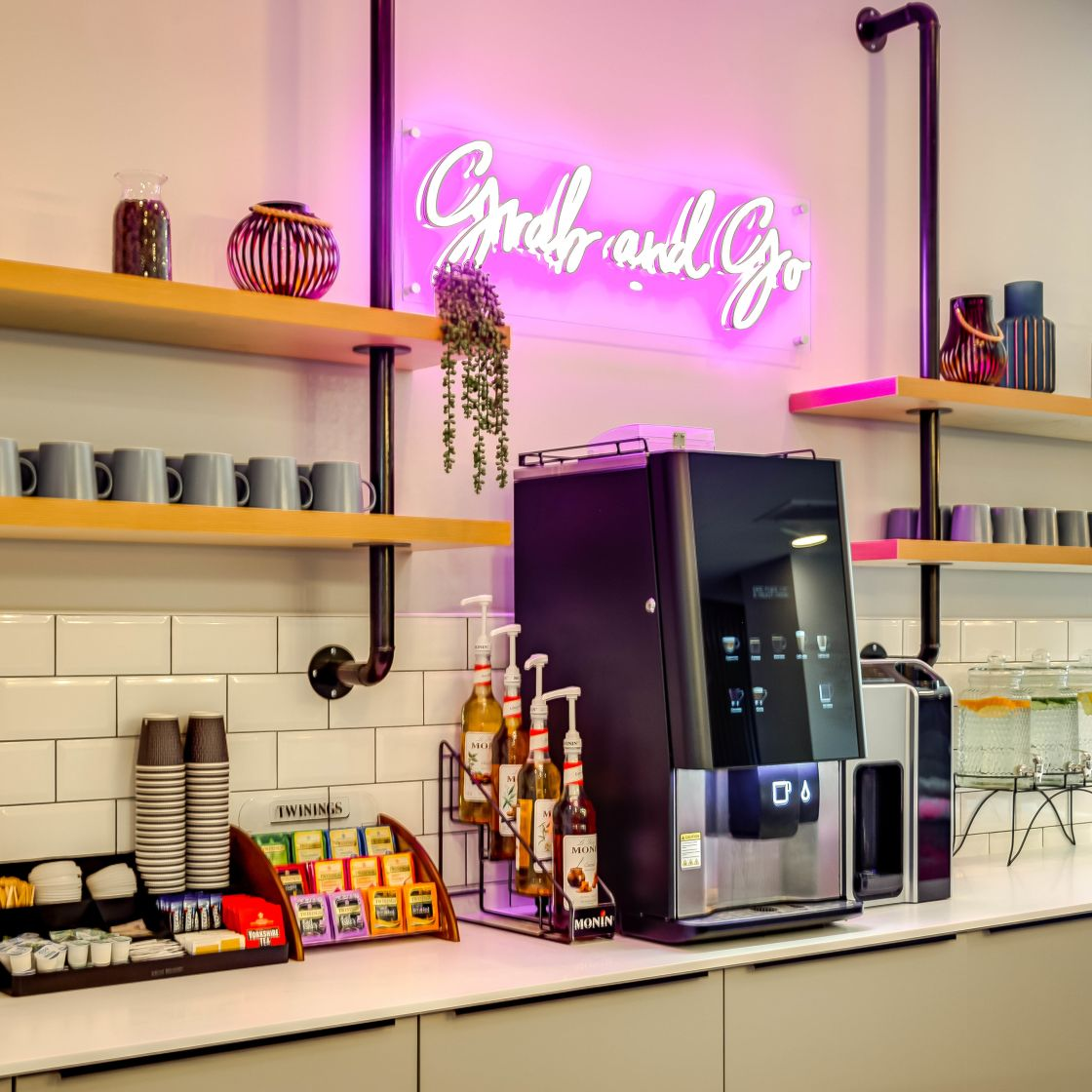 Grab 7 Go station with Hot drinks machine, Tea's and Syrups at IconInc, The Edge. Student Accommodation in Leeds