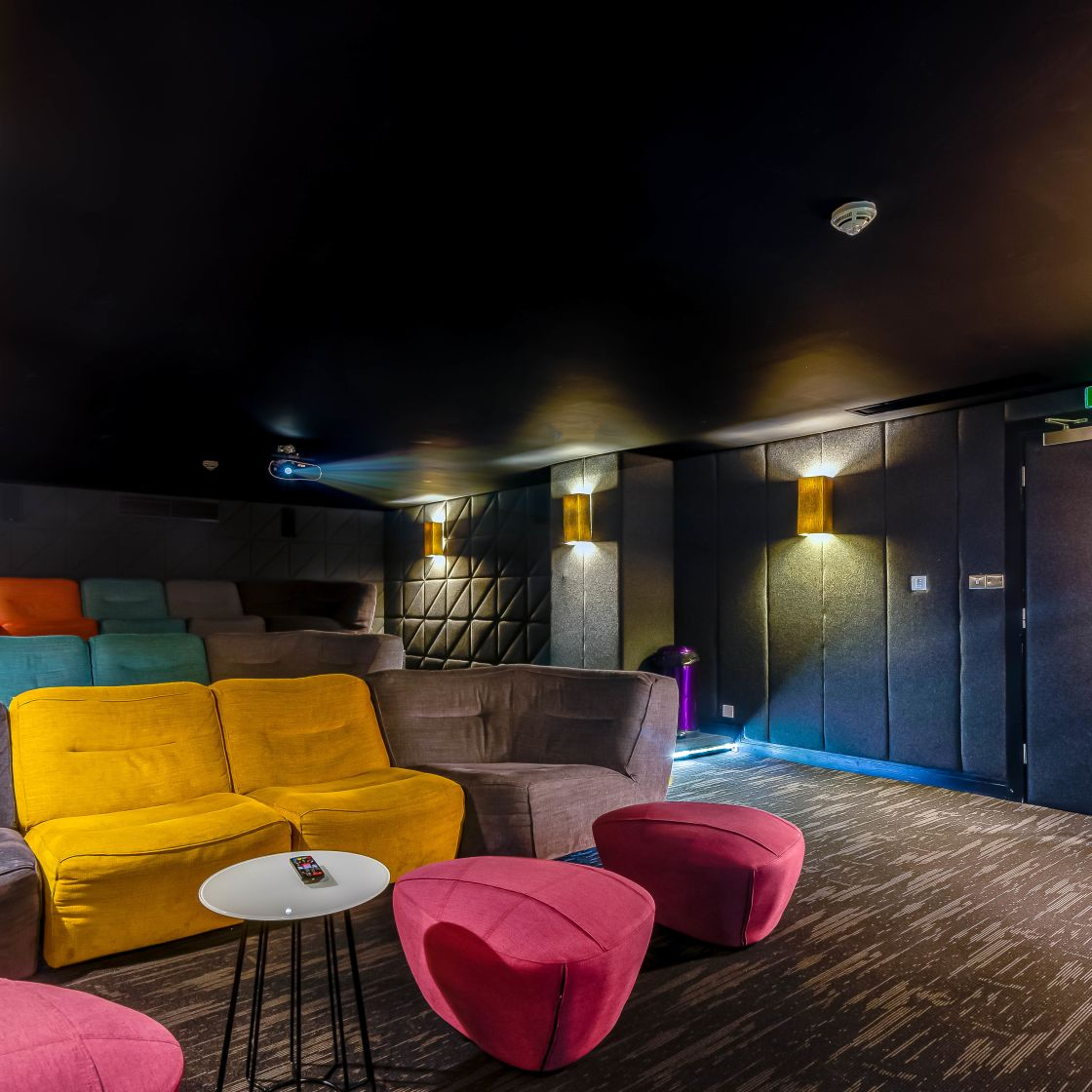 Cinema with large soft furnishings at IconInc, The Edge. Student Accommodation in Leeds