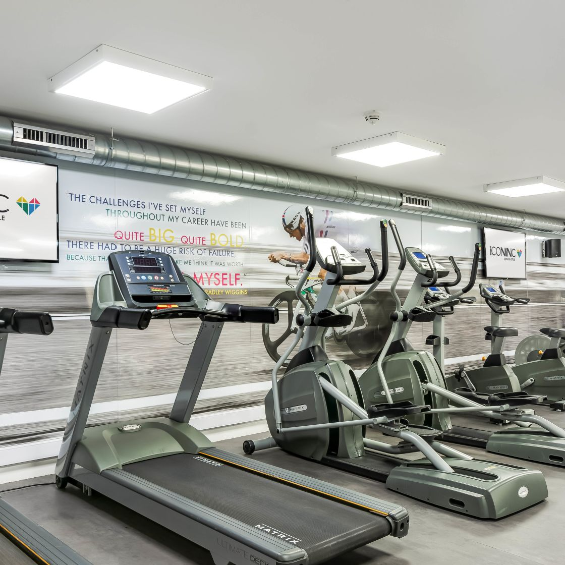 Gym with Cross Trainers and Treadmills at IconInc, The Edge. Student Accommodation in Leeds