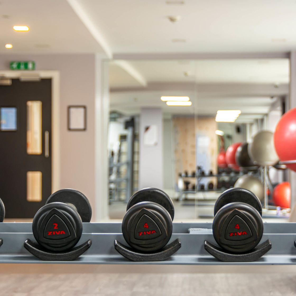 Gym with Free Weights at IconInc, The Edge, Student Accommodation in Leeds
