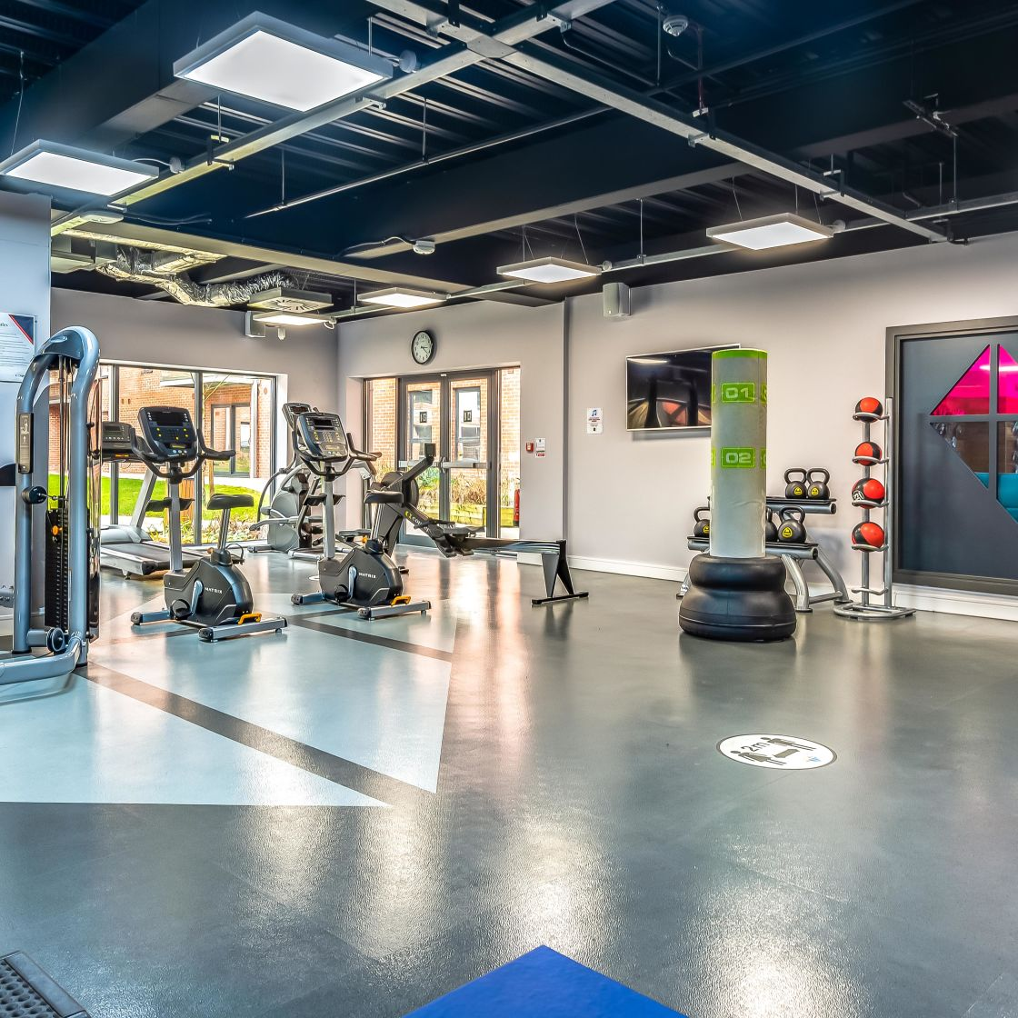 Large Gym with Cross Trainers at IconInc, The Glassworks. Student Accommodation in Leeds